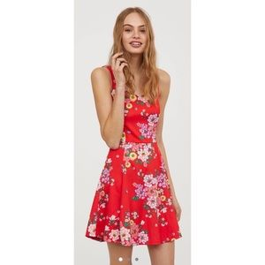 Red Floral Jersey Dress